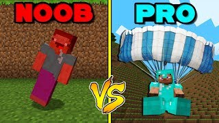 Minecraft Battle: NOOB vs PRO: LANDING WITH A PARACHUTE in Minecraft!