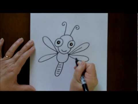 How to Draw a Cartoon Dragonfly Baby Easy Drawing Lesson for Children #1