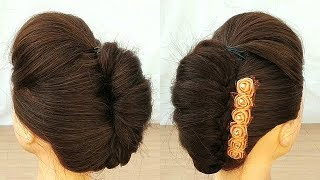 Beautiful French Roll Hairstyle for wedding || Easy Way to make French Roll hairstyle  with puff