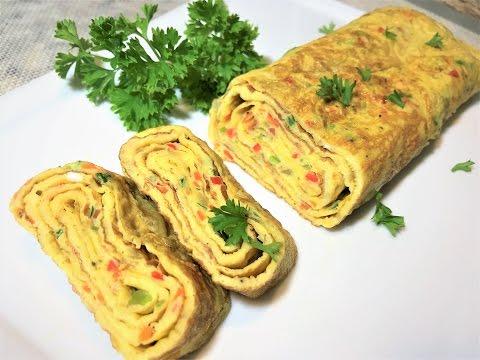 Омлет - Рулет за 10 мин. Быстрый Завтрак.  Omelette for Breakfast