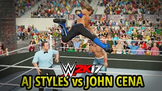 WWE 2K17 - AJ STYLES vs JOHN CENA!! (FULL MATCH GAMEPLAY w/ DAYTIME ARENA!!)