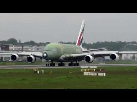 Unpainted Emirates A 380 MSN 134 Landing at Airbus Plant Hamburg Finkenwerder
