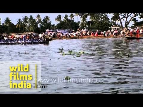 Oarsmen row their boats during the 62nd Nehru trophy boat race in Alleppey