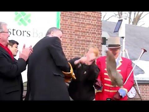 New York City Mayor Bill de Blasio drops Staten Island groundhog
