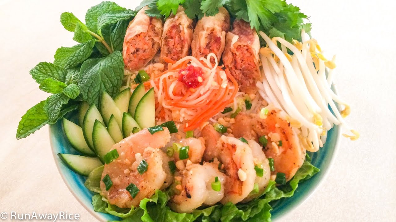 Grilled Shrimp, Egg Rolls and Rice Vermicelli (Bun Cha Gio ...