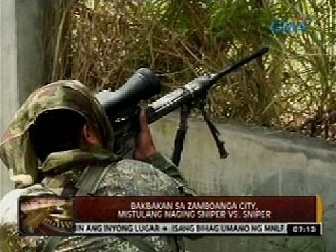 24 Oras: Bakbakan Sa Zamboanga City, Mistulang Naging Sniper Vs. Sniper video