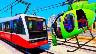Trains and Green Helicopter for Kids - Fun Video with Nursery Rhymes Songs