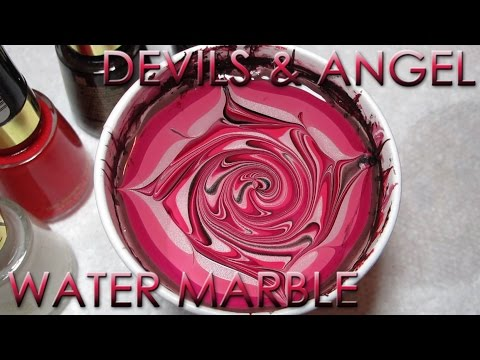 Devils & Angel Water Marble Nail Art Tutorial