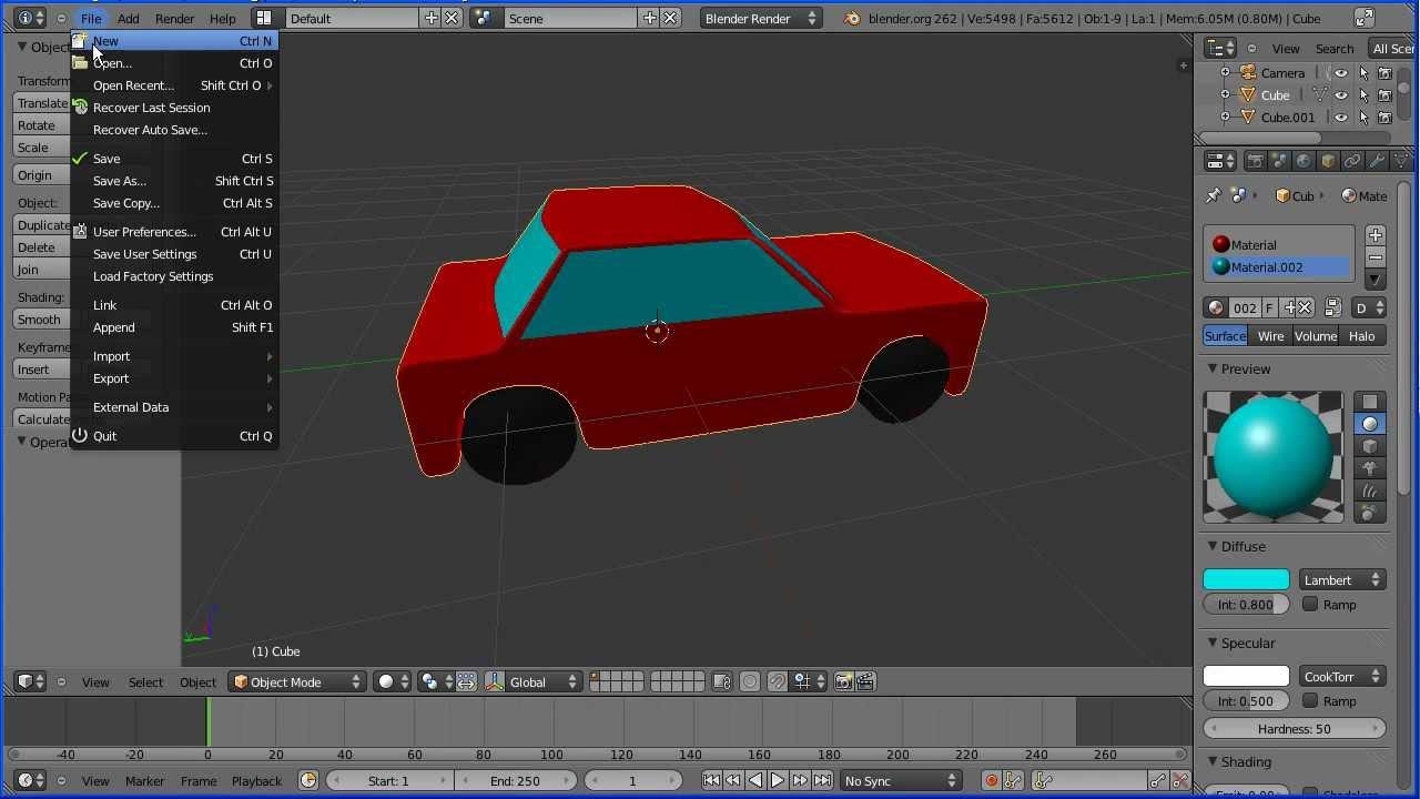 Blender 2 6 Character Modeling Tutorial : Blender tutorial making a simple model of car
