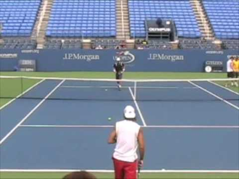 David Ferrer & Lleyton Hewitt hitting at 2009 US Open Video