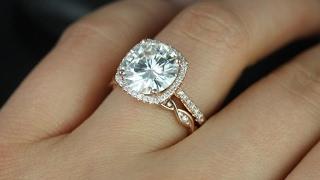 Cushion Cut Engagement Rings and Wedding Band