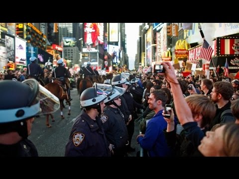 Occupy Wall Street: Befrworter fr faires Geldsystem besetzten Times Square