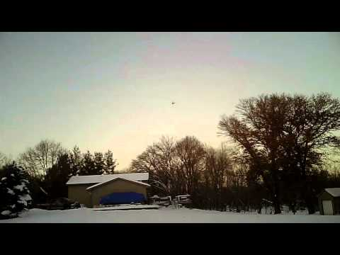 UMX Carbon Cub - more fun in the snow + mid-air collision with ham radio antenna