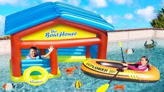 Wendy Pretend Play with Inflatable Boat Playhouse Kids Toys