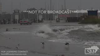 10-7-2017 Gulfport, Ms Hurricane Nate making a splash, waves crashing over seawall on to road