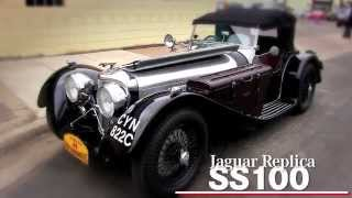 Paul Nesse and Dave Tobin talk about a Jaguar SS 100 at the Intermarque Spring Kick Off Car Show