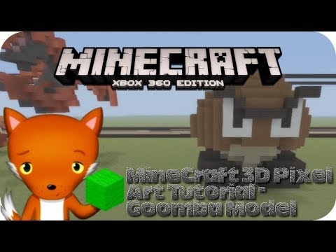 MineCraft 3D Pixel Art Tutorial - Goomba Model From Mario