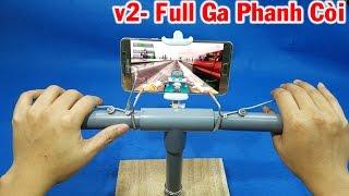 Chế tay lái chơi game đua xe máy cho smartphone - v2 Full Phanh, ga, còi