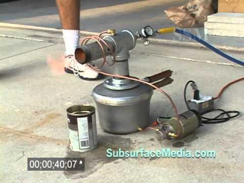 Babington waste oil burner test youtube for Burning used motor oil for heat