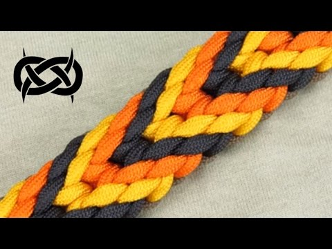 How to make a Plaited Chevron Sinnet Paracord Bracelet Tutorial (Paracord 101)