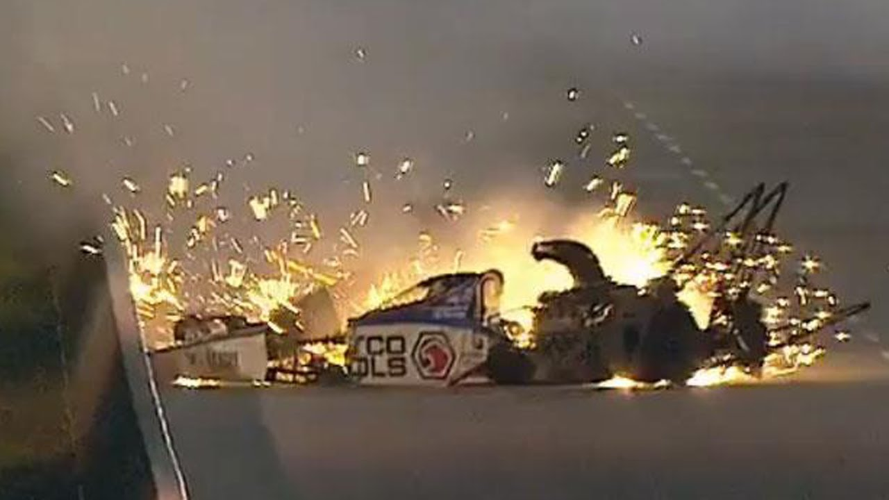 nhra u0026 39 s antron brown escapes injury in spectacular crash