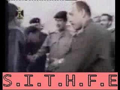 Pres. Saddam Walking in Baghdad During War