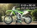 Kawasaki KX 450f first ride and comparison to Suzuki RMZ 450