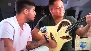Zé Felipe e Leonardo cantando ao vivo, no jornal Tv Anhanguera em Goiânia
