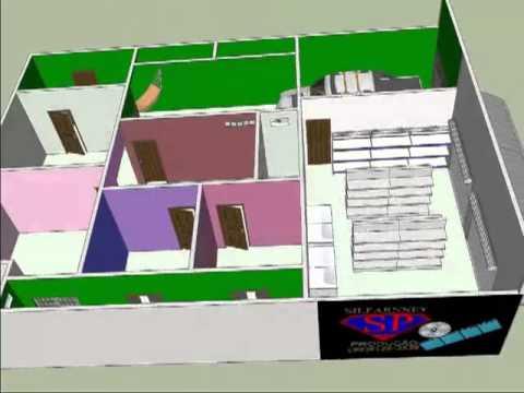 Modelo de planta de casa mais comercio 11x15 sketchup 3d for Modelo de casa en 3d