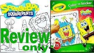 Full Coloring Pages Review - Spongebob - Crayola Color 'n Sticker - For Kids