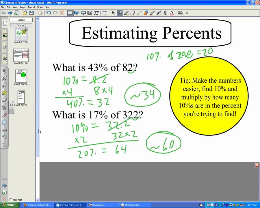 how to add and subtract percentages without a calculator