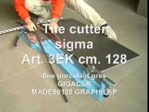 taglio di piastrelle in gres porcellanato 120cm GRAPHILAB a 90° con tagliapiastrelle sigma art. 3EK