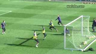 Neymar goals in FC Barcelona training session / www.weloba.com