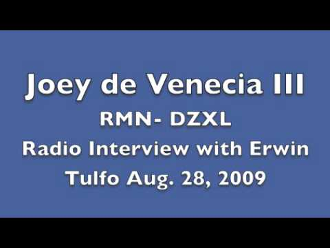 Joey de Venecia III interview by Erwin Tulfo (Birada RMN DZXL August 28, 2009)