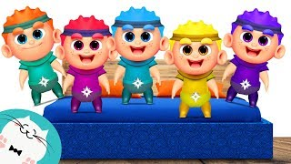 Five Little Ninja Kids Jumping on the Bed - Nursery Rhyme Song for Children