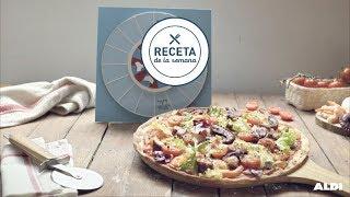 Pizza de pulpo y langostinos · Receta por menos de 1,93€
