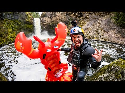 Rafa Ortiz Rides Inflatable Pool Toy Off 70-Foot Waterfall!!
