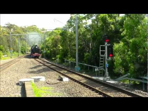 "Preserved locomotive 3642 hauls a special ""Steam to the Surf"" train on 9 March 2013 from Sydney Terminal to Wollongong and return. The train is seen first at..."