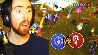 Asmongold VS Horde Epic World PVP Battle (Classic WoW Beta)
