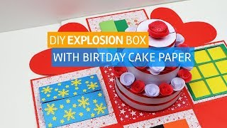 DIY Explosion Box Crafting idea With Birthday Cake Paper
