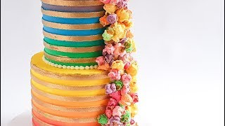 Rainbow and Gold Popcorn Cake- Rosie's Dessert Spot