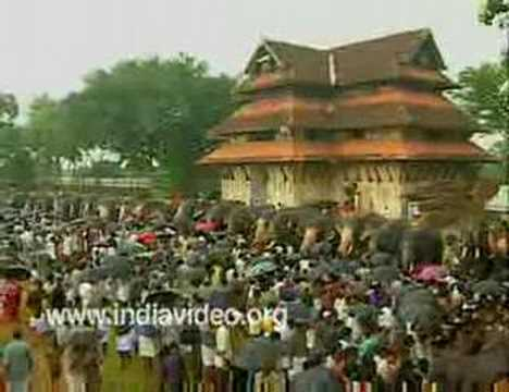 The grand elephant feasting - Aanayoottu Vadakkumnatha Temple...