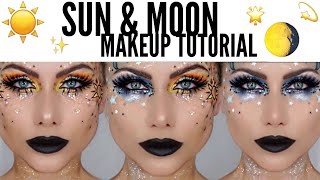 glitter sun and moon makeup tutorial   halloween makeup   beeisforbeeauty