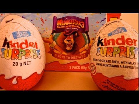 MADAGASKER 3 Kinder Surprise Eggs Unboxing By