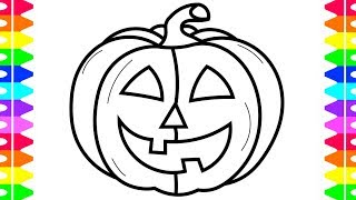 HAPPY HALLOWEEN COLORING! Learning How to Draw a Pumpkin! Coloring Book for Kids   Colored Markers