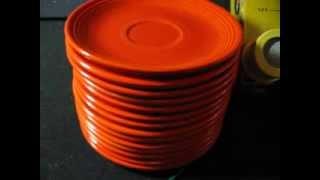Vintage radioactive red fiesta ware saucers measured~24000 CPM on CDV700 with LND 7311 Pancake Probe