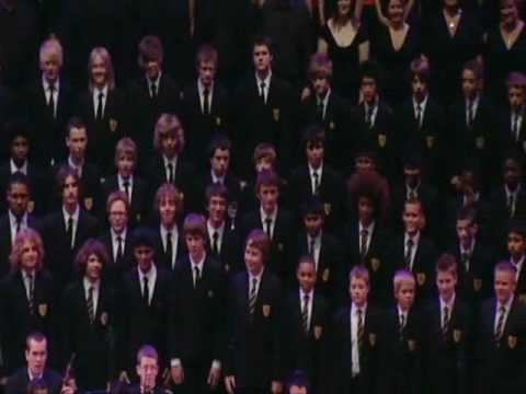 """The Lancaster School choir, boys between 11 and 15 years old, performing Gareth Malone's composition of Ben E, King's """"Stand by me"""" and Sean Kingston's """"Beautiful girls"""" in Roytal Albert Hall,..."""