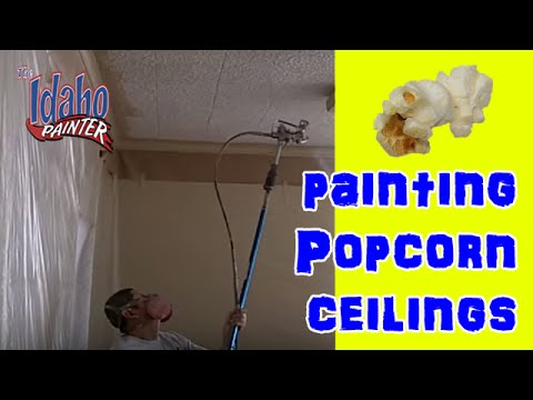 HOW TO PAINT ACOUSTIC CEILINGS.  How To Paint Popcorn Ceilings.  Ceiling Hacks.