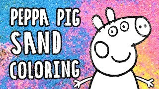 Peppa pig coloring with sand   Babies, toddlers and kids coloring pages
