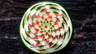 Watermelon Carving Into A Flower | Eagle Claws | Advanced 41 | Mutita Edible Art Of Fruit Carving